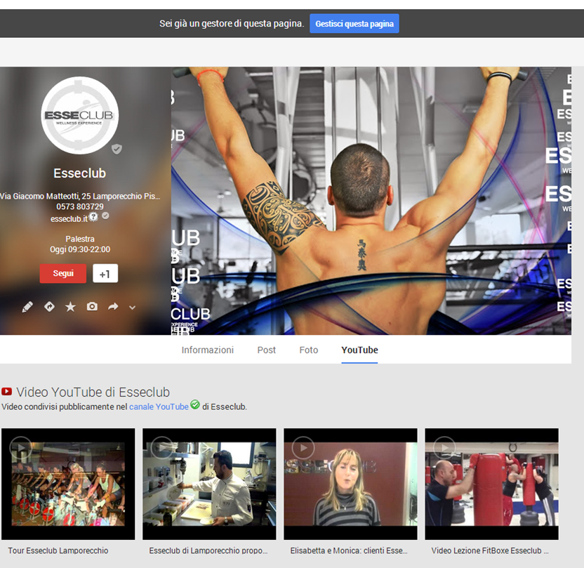 Canale YouTube integrato alla pagina Google Plus Local