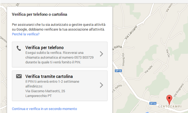 Verifica Telefonica o con Cartolina scheda Google Plus Local