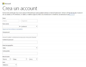 Registrazione Account Microsoft